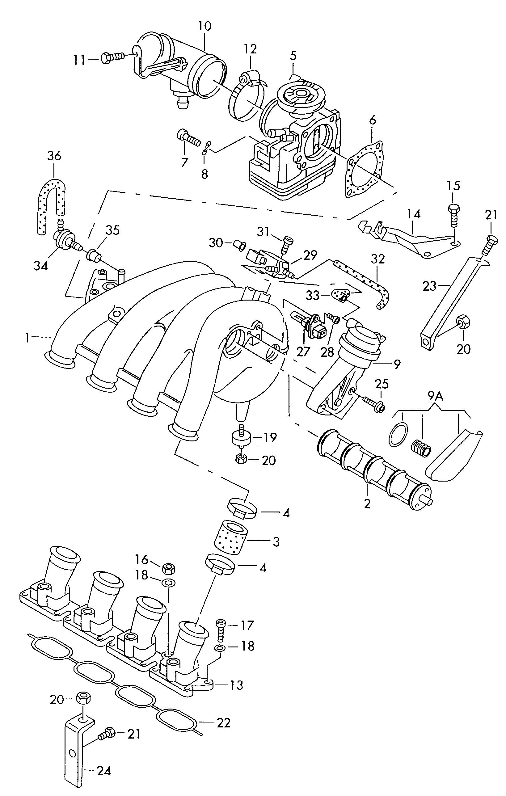 Схема установки детали 058133216d производителя Vag